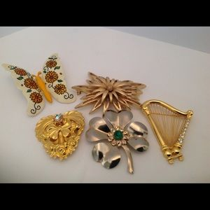 Five Assorted Style of Designer Brooches